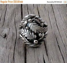 Navajo Women's Silver Leaf Design Ring Size 8, Navajo Leaf Design Ring, Women's Leaf Ring, Southwestern Ring, Handcrafted Ring, Made In USA