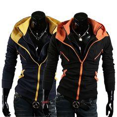 US Seller Mens Stylish Fashion Slim Fit Double Zipper Hoodie Jacket Coat PK26 | eBay