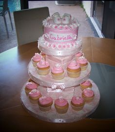 LOVE this cake and cupcake idea! could use blue instead... we will find out soon what color to use :)