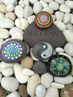 Outdoor Peace Rock Yin Yang Mandala rock or Spiral by InnerSasa
