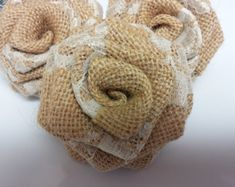 Set of 20 Handmade Country Burlap & Ivory Lace Flowers for