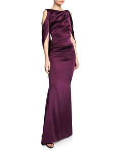 fc7b3608c62 Ponceau High-Neck Draped Bodice Shiny   Matte Crepe Satin Evening Gown  Talbot Runhof