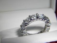 5.44 tcwG-H VS2-SI1 Round Cut Diamond Eternity wedding ring 14K size 6