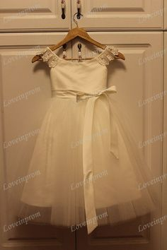 Cap Sleeve Tule /Lace Flower Girl Dress Short by loveinprom, $49.90