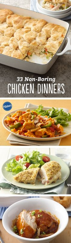 Running out of ideas that reimagine chicken breast? Fear not! We've got the best 33 non-boring chicken dinner ideas, ever. From pasta bakes to biscuit-topped casseroles, these meals are about to change everything you and your family know about plain 'ole chicken breast.