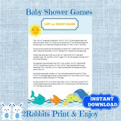 Under The Sea Left Or Right Baby Shower Game   Instant Download   Under The  Sea