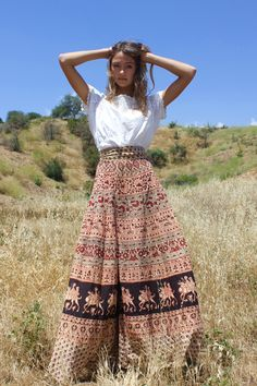 This one is a real Beauty! Circa ~ 1970s Indian Block Print Maxi Wrap Skirt Ultra Long Length Excellent Vintage Condition Super Pretty! One Size Fits Most! Waist ~ 35 inches not including Ties Length
