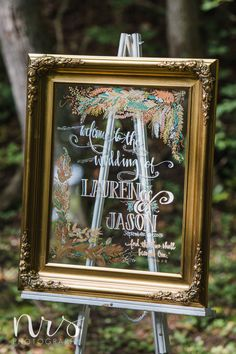 Wedding Welcome Sign, Gold Ornate Frame. This is a great focal point and fun way to welcome your guests at any wedding. Everything is customizable from the mirror/frame style and
