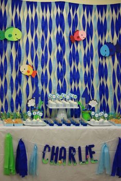 Loved making this crepe paper backdrop with die cut fish. Simple, but time consuming Water Theme Birthday, 2nd Birthday, Birthday Ideas, Birthday Parties, Crepe Paper Backdrop, Under The Sea Party, Childrens Party, Birthday Photos, Kids Playing