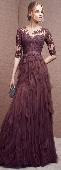 Gorgeous Tulle Jewel Neckline Half Length Sleeves A-line Evening Dresses with Lace Appliques & Sash