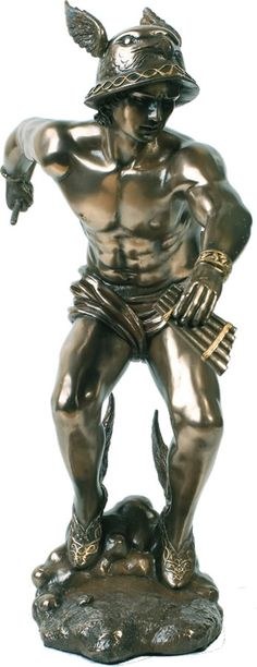 Hermes, Greek Messenger God Statue Sculpture Figurine from the Greek and Roman Reproduction Art Sculpture Collection available at AllSculptures.com