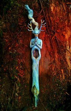 Fawn Woman sculpted driftwood. (x)