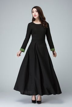 Black dresslong sleeve prom dress linen dress maxi by xiaolizi