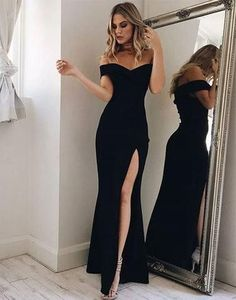 formal black off shoulder side slit simple long evening dress, PD9978