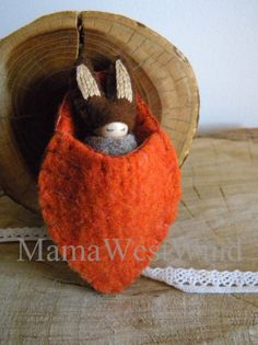 Bunny in Carrot Pouch, Waldorf Baby, Rabbit, brown, beige, chocolate brown, orange, Upcycled wool felt, wood, eco toy