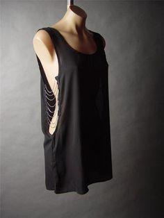 Black Chain Open Low Cut Out Side Edgy Punk Chiffon Tank Top Shirt 44 AC Tunic M | eBay