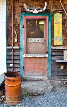 Junk Shopping at The Back Porch Harrison Hot Springs, BC - rustic door  Reminds me of Granny Harris' store, although she was not my granny