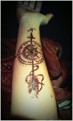 steampunk feathered arrow compass tattoo designs - Google Search