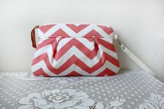 Kitt Wristlet/ Pouch/ Makeup bag/ Wallet in Coral/ by cindymars7, $29.00