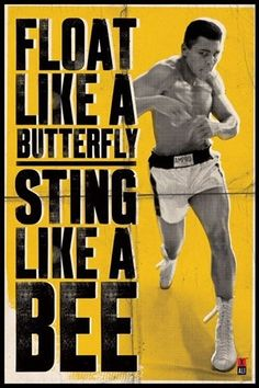 "A fantastic poster of heavyweight boxing legend Muhammad Ali! His mantra: ""Float Like A Butterfly and Sting Like A Bee. Check out the rest of our excellent selection of Muhammad Ali posters! Need Poster Mounts. Fitness Workouts, Fitness Motivation, Sport Motivation, Quotes Motivation, Fitness Plan, Fitness Tips, Health Fitness, Citation Mohamed Ali, Bon Sport"