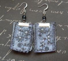 Gray Bohemian Repurposed Fabric Textile, Faceted Gray Glass Bead Earrings
