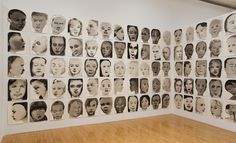 Installation view of <em>Measuring your Own Grave</em>, 2008, Museum of Contemporary Art, Los Angeles<br> <em>Models</em>, 1994, watercolour and ink-wash on paper, 62 x 50 cm (each)<br> Collection Van Abbemuseum, Eindhoven, the Netherlands