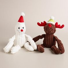 One of my favorite discoveries at WorldMarket.com: Plush Reindeer and Snowman Pet Toys, Set of 2