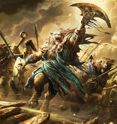 MtG Art: Ajani's Presence from Journey into Nyx Set by Raymond Swanland - Art of Magic: the Gathering Fantasy Creatures, Mythical Creatures, Mtg Planeswalkers, Jhon Green, Pixiv Fantasia, Mtg Art, Fantasy Races, Fantasy Rpg, Fantasy Landscape