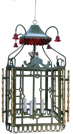 HAND PAINTED REGENCY CHINOISERIE HANGING LANTERN