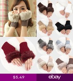 Womens Faux Fur Winter Wrist Arm Hand Warmer Knitted Fingerless Gloves Mitten Mitten Gloves, Mittens, Fingerless Gloves Knitted, Fox Fur, Hand Warmers, Fur Hats, Wool, Rabbit Fur, Knitting