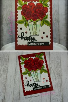 Stampendous Rose Bouquet Mother's Day handmade card colored with Spectrum Noir Markers
