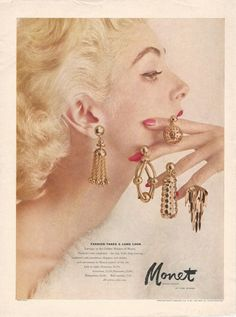 1954 MONET Golden Long Big Bold Drop Dangle Earrings CARMEN del ORIFICE models Vintage Costume Jewelry Photo Print Advertisement
