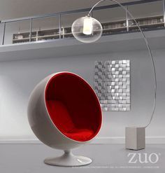 Zuo Modern 800002  MIB Lounge Chair in Red
