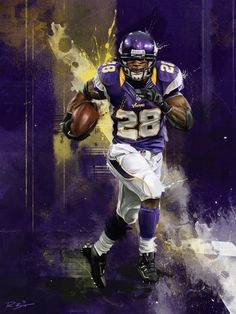 Vikings Adrian 'All Day' Peterson painting by Robert Bruno Football Poses, Best Football Team, Nfl Football, Football Helmets, Equipo Minnesota Vikings, Minnesota Vikings Football, Sports Art, Nfl Sports, Sports Posters