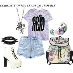 Alice in wonderland soft grunge or pastel goth :) high waisted shorts platforms polyvore outfit flower crown acid
