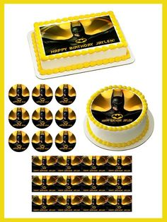 Batman Yellow Edible Birthday Cake Topper OR Cupcake Topper, Decor - Want to surprise your special someone on his/her birthday? How about choosing a personalized cake topper to reflect your emotions! Well, trust to get you the best. Edible Cupcake Toppers, Edible Cake, Birthday Cake Toppers, Cupcake Cakes, Cupcakes, Edible Printing, Boy Birthday Parties, 5th Birthday, Birthday Ideas