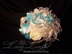 Aqua Blue and Ivory Headband by LaceyLengths on Etsy