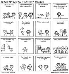 Shakespearean Tragedy Bingo Card - just a fun game to play. Simple way to gauge whether or not students understand basic plot of Shakespeare tragedies. British Literature, Teaching Literature, English Literature, Teaching Resources, Drama Teaching, Teaching Theatre, Teaching Writing, Student Teaching, Writing Prompts