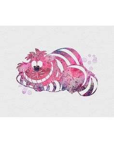 Cheshire Cat Alice in Wonderland Watercolor Art - VIVIDEDITIONS
