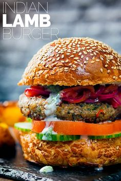 Ain't no such thing as just a Burger, These Lamb Burgers are inspired by Indian flavours, light bright and zingy with hints of fenugreek, cumin and turmeric and elements of a Kachumber salad. Lamb Burger Recipes, Best Burger Recipe, Fried Fish Recipes, Gourmet Burgers, Lamb Recipes, Indian Food Recipes, Cooking Recipes, Healthy Recipes, Sandwich Recipes