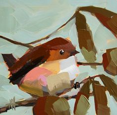 Carolina Wren no. 65 original bird and walnut tree oil painting by Angela Moulton 6 x 6 inch mounted on birch plywood panel ready to hang by prattcreekart on Etsy