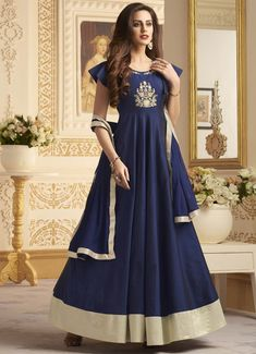Navy Blue Taffeta Silk Readymade Long Anarkali Suit 115779 Are you searching for the best Designer ladies Punjabi Suit also Designer ladies Salwar suits in which case Click above VISIT link to see Long Anarkali, Anarkali Suits, Punjabi Suits, Indian Dresses, Indian Outfits, Indian Clothes, Designer Anarkali Dresses, Bollywood Dress, Bollywood Fashion