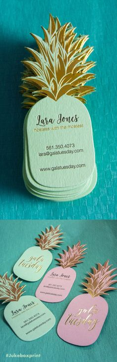 The cutest business card, a Pineapple shape with Letterpress and Gold Foil. Designed by @gala tuesday. Printed by Jukebox Print
