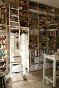 Floor To Ceiling Bookshelves  Bookshelf Ladder  Books mixed with Knickknacks