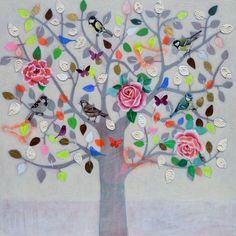 Andrea Letterie, Happy tree, Gemengde technieken op paneel, 80x80 cm, 1500,-