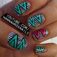 Geo Stripes Nail Art love this nail art channel Nail Manicure, Diy Nails, Cute Nails, Pretty Nails, Nail Art Stripes, Striped Nails, Nail Polish Designs, Cute Nail Designs, Glow Nails