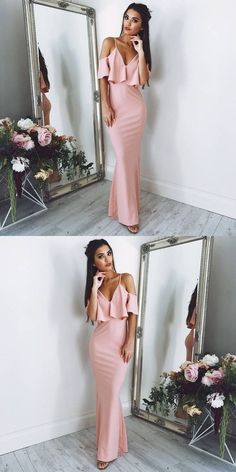 Sexy Sheath Spaghetti Straps Off Shoulder Blush Pink Prom Dress M1691#prom #promdress #promdresses #longpromdress #2018newfashion #newstyle #promgown #promgowns #formaldress #eveningdress #eveninggown #2019newpromdress #partydress #meetbeauty #sheath#pink#spaghettistrap #offshoulder #vneckline