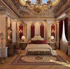Luxury Bedroom Design, Home Room Design, Dream Home Design, House Design, Design Homes, Mansion Interior, Luxury Interior, Royal Room, Luxury Homes Dream Houses