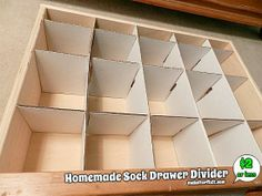 A step-by-step tutorial with pictures on how to make a homemade sock drawer divider. This will keep your socks neatly organized. Diy Drawer Dividers, Diy Drawer Organizer, Drawer Organisers, Drawer Ideas, Sock Storage, Paper Storage, Diy Storage, Clothes Storage, Diy Clothes