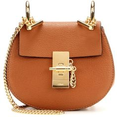 Chloé Nano Drew Leather Shoulder Bag ($1,140) ❤ liked on Polyvore featuring bags, handbags, shoulder bags, brown, chloe purses, real leather purses, brown shoulder bag, genuine leather handbags and chloe handbags